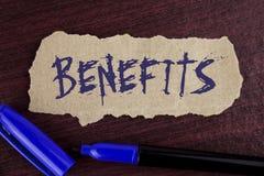 Benefícios da escrita do texto da escrita E fotografia de stock royalty free