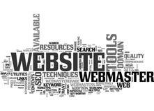 Benefícios da nuvem da palavra de Toolkit And Resources do Webmaster ilustração do vetor