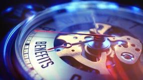 Benefícios - fraseio no relógio de bolso 3d rendem Fotos de Stock