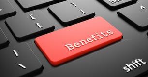 Benefícios no botão vermelho do teclado Imagens de Stock Royalty Free