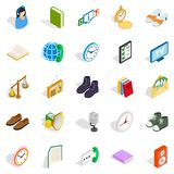 Beneficence icons set, isometric style. Beneficence icons set. Isometric set of 25 beneficence vector icons for web isolated on white background Stock Image