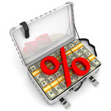 Beneficial interest. Business concept. Red percentage sign and a suitcase filled with packs of US dollars. Isolated. 3D Illustration Stock Image