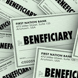 Beneficiary Word Checks Insurance Heir Recipient Money Inheritan. Beneficiary word on checks as payouts of insurance policies or inheritance from a will or trust Stock Photography