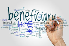 Beneficiary word cloud Royalty Free Stock Images