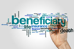 Beneficiary word cloud stock photography