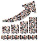 Beneficio de negocio del éxito del grupo de personas de las ventas de la flecha de la carta de barra GR imagen de archivo