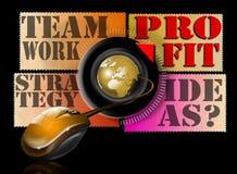 Beneficio del trabajo en equipo de la estrategia de las ideas Imagen de archivo