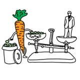 Beneficio della metafora del beta-carotene in colesterolo più basso v della carota Fotografia Stock Libera da Diritti