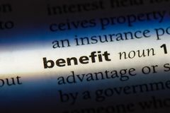 Benefit. Word in a dictionary.  concept Royalty Free Stock Photo