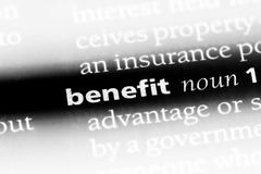 Benefit. Word in a dictionary.  concept Stock Photo