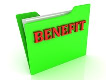 Benefit bright red letters on a green folder with papers Stock Photography