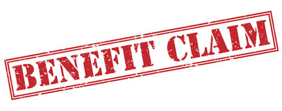 Benefit claim stamp on white background. Benefit claim red stamp isolated on white background Stock Images