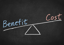 Benefit cost concept. Text on blackboard background Royalty Free Stock Photos