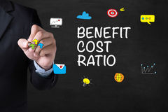 BENEFIT COST RATIO. Businessman drawing Landing Page on blurred abstract background Royalty Free Stock Photography