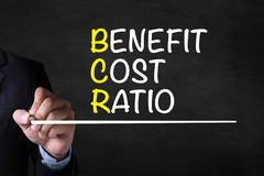 BENEFIT COST RATIO. And Businessman drawing  Page on blackboard Stock Images