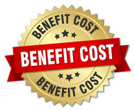 Benefit cost round isolated badge. Benefit cost round isolated gold badge Royalty Free Stock Photo