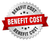 Benefit cost round isolated badge. Benefit cost round isolated silver badge Stock Image