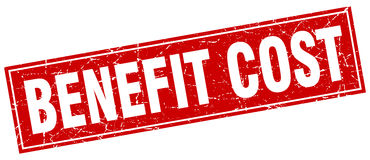 Benefit cost square stamp. Benefit cost square red stamp Stock Images