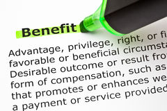 Benefit Definition. Definition of the word Benefit, highlighted with green marker Stock Photography