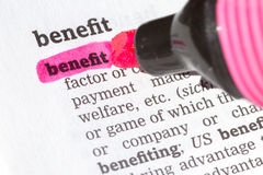 Benefit  Dictionary Definition. Single word with soft focus Stock Image