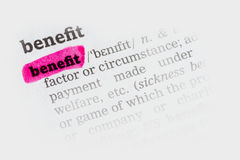 Benefit  Dictionary Definition Royalty Free Stock Images