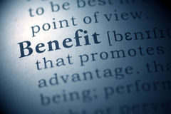 Benefit. Dictionary definition of the word Benefit Stock Image