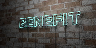 BENEFIT - Glowing Neon Sign on stonework wall - 3D rendered royalty free stock illustration Stock Photo