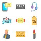 Benefit icons set, cartoon style. Benefit icons set. Cartoon set of 9 benefit vector icons for web isolated on white background Stock Images