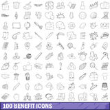 100 benefit icons set, outline style. 100 benefit icons set in outline style for any design vector illustration stock illustration