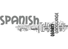 Benefit Of Learn Spanish Onlineword Cloud. BENEFIT OF LEARN SPANISH ONLINE TEXT WORD CLOUD CONCEPT Royalty Free Stock Photo