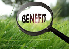 Benefit. Magnifying glass with the word benefit on grass background. Selective focus Stock Photography
