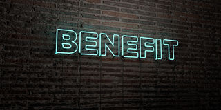 BENEFIT -Realistic Neon Sign on Brick Wall background - 3D rendered royalty free stock image Stock Photography