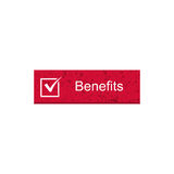 Benefit rectangle button. With red color Stock Photography