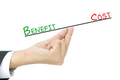 Benefit vs Cost comparison. On hand Royalty Free Stock Photography