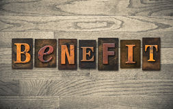 Benefit Wooden Letterpress Theme Stock Photography