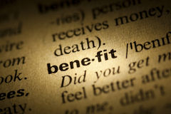 Benefit. Word Benefit in a dictionary Stock Photo