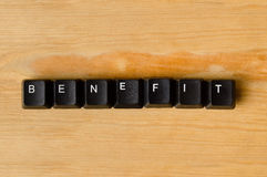 Benefit word. With keyboard buttons Stock Image