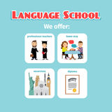 Benefits of abroad language school studying. Benefits of studying in language school abroad. Vector illustration Royalty Free Stock Image