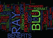 The Benefits Of The Blu Ray Disc Text Background  Word Cloud Concept Stock Image