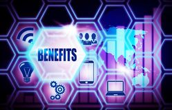 Benefits blue background model concept. Benefits blue background concept model Royalty Free Stock Photo