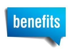 Benefits blue 3d realistic paper speech bubble Stock Images