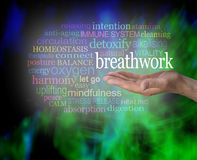 The Benefits of Breathwork. Male hand held palm up with the word BREATHWORK floating above surrounded by a relevant word cloud on a modern abstract black and Stock Photos