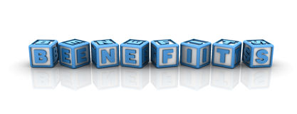 Benefits Buzzword. Three dimensional illustration of cubes with word Benefits Stock Photo