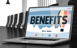 Benefits Concept on Laptop Screen. 3D. Royalty Free Stock Photography
