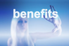 Benefits concept. Manager pointing on benefits - business concept royalty free stock image