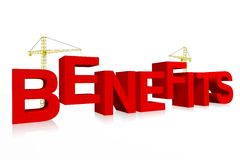 Benefits, crane concept, building, buzzword Stock Photos