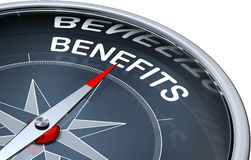 Benefits. 3D rendering of a compass with a benefits icon Stock Image