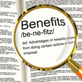 Benefits Definition Magnifier Showing Bonus Perks Or Rewards Stock Photos