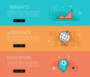 Benefits of Distance Education. Vector banners template set. Flat design electronic education banners template set. Education concept for web and app design Royalty Free Stock Photography
