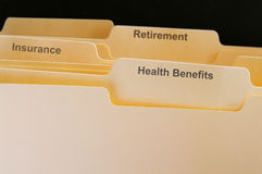 Benefits folders Stock Photo